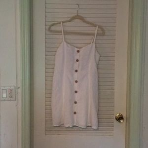 Urban Outfitters White Linen Button-down dress